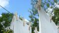 Vasketøj hænger til tørre på snor